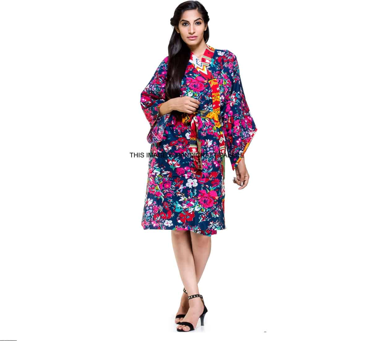 Indian Floral Gown Cotton Kimono Robe Bath Robe Intimate Nightwear ...