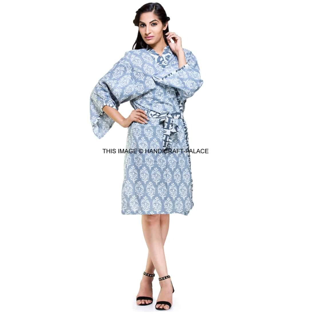 9c14d8c651 Indian Cotton Floral Print Kimono Dressing Gown Bath Robe Intimates  Nightwear  19.99. Click ...