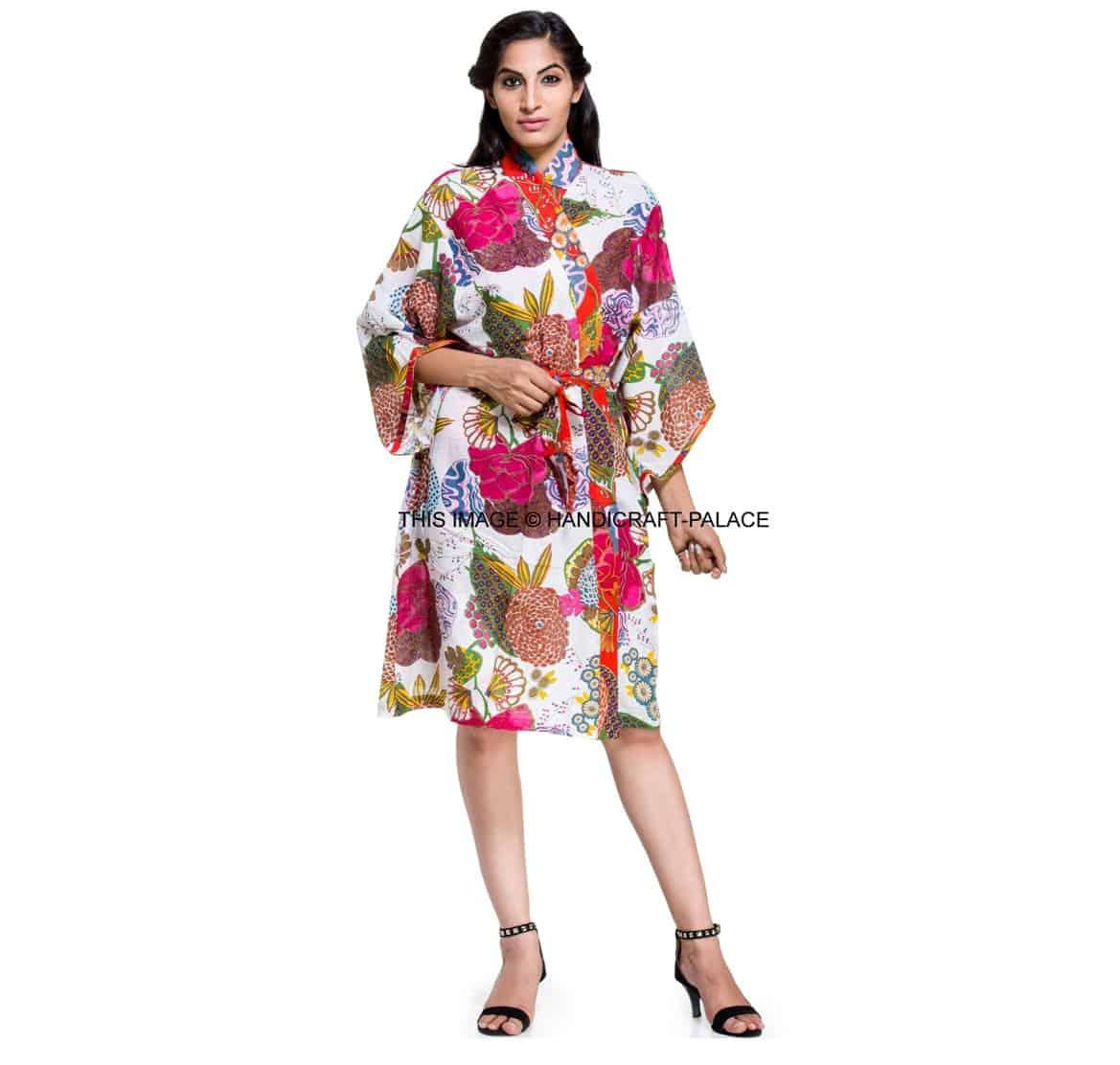 Indian Cotton Floral Print Kimono Dressing Gown Bath Robe Intimates ...