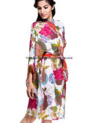 Indian Cotton Floral Print Kimono Dressing Gown Bath Robe Intimates