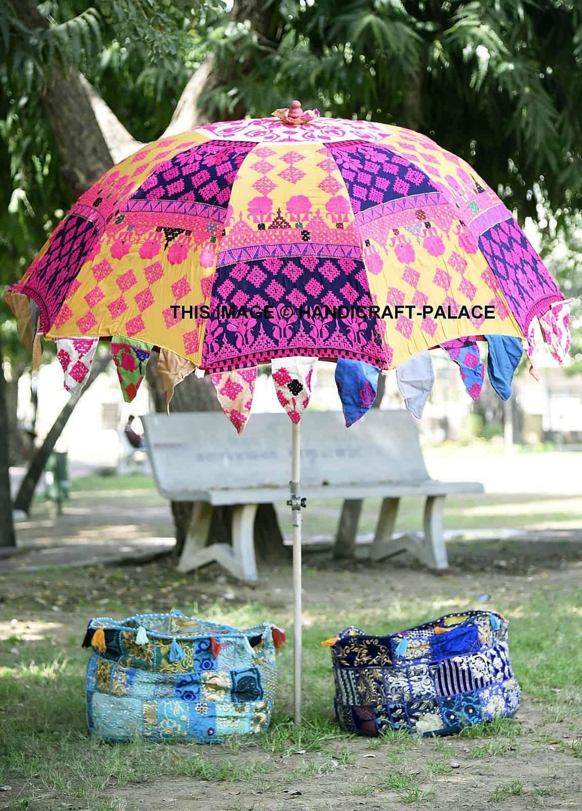 Indian Vintage Embroidered Garden Umbrella Cotton Patio