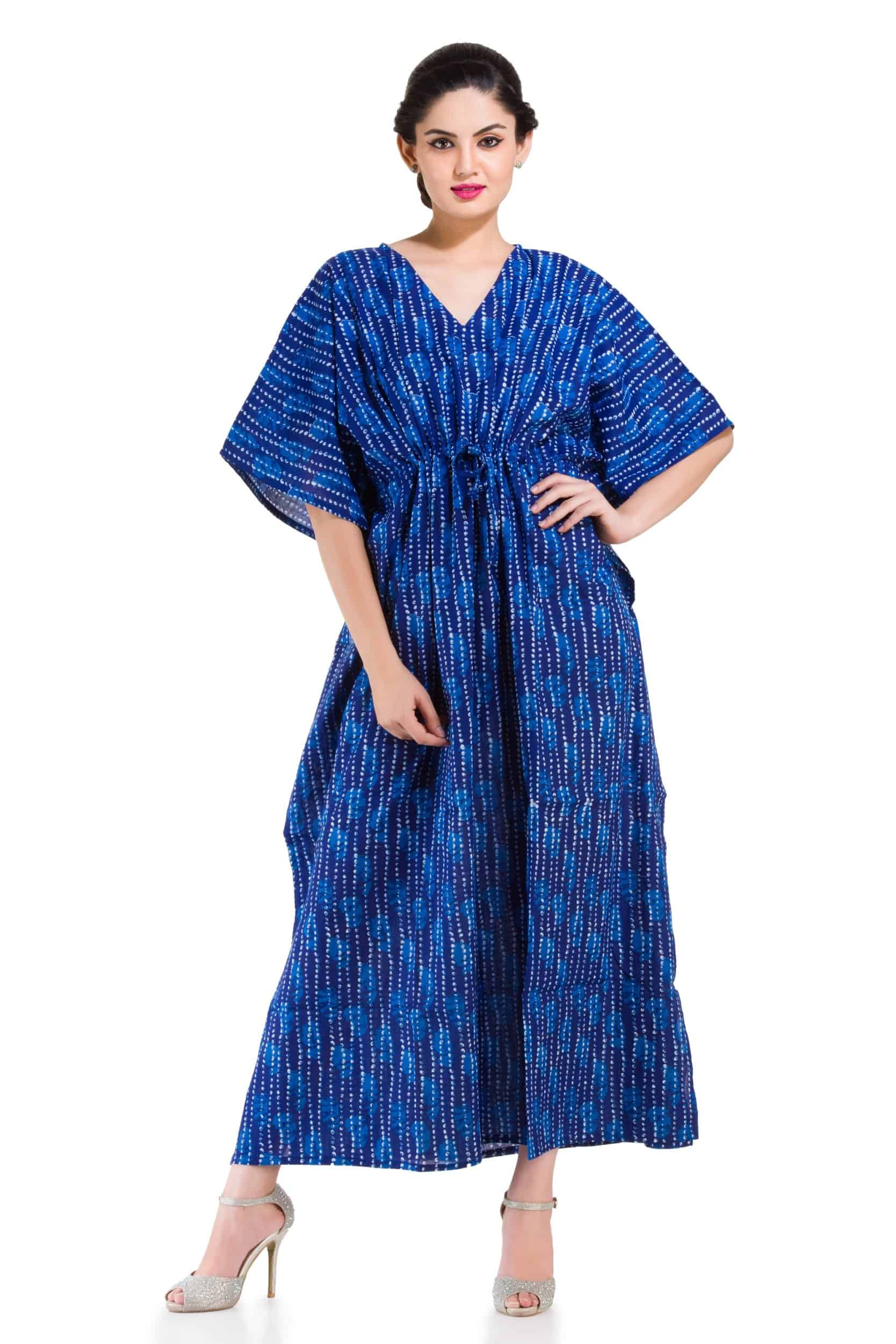 Plus Size Cotton Long Dress Caftan Indian Handmade Gown