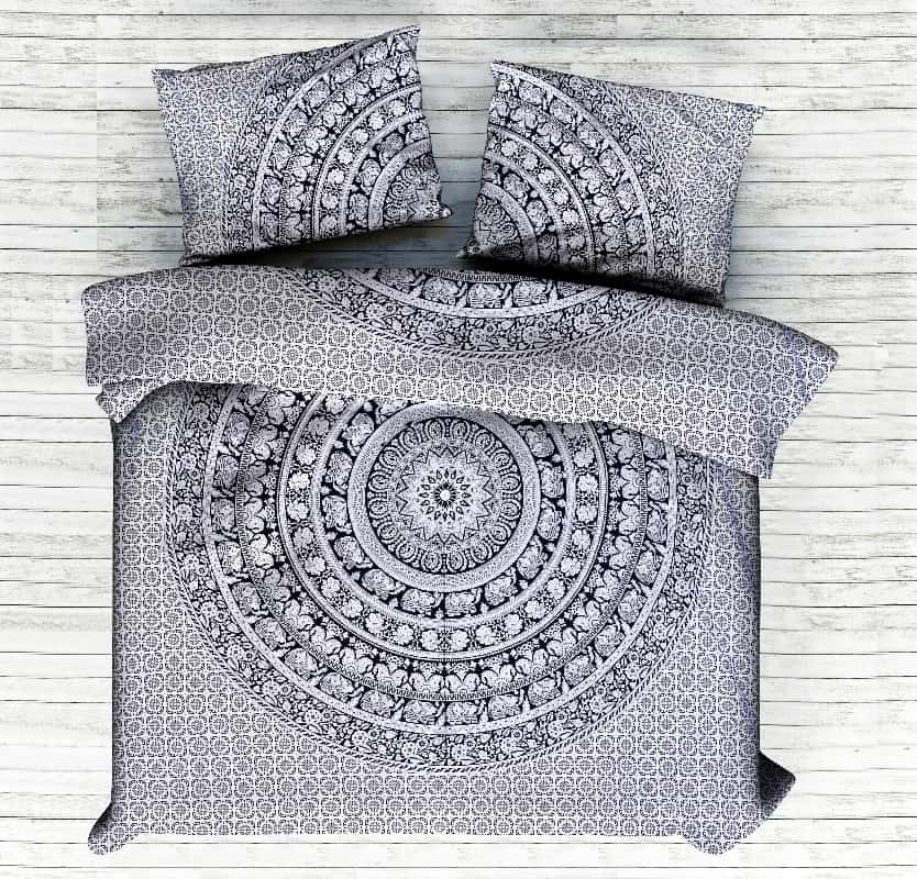Elephant Gaj Safari Mandala King Duvet Cover Handicraft