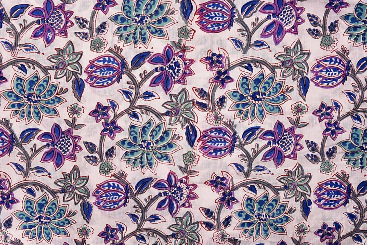 Hand Block Printed Floral Design Loose Fabric Indian