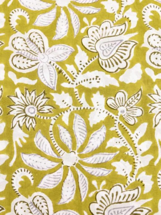 Cotton Beige Floral Indian Hand Block Print Sewing Material Craft 5 Yard New