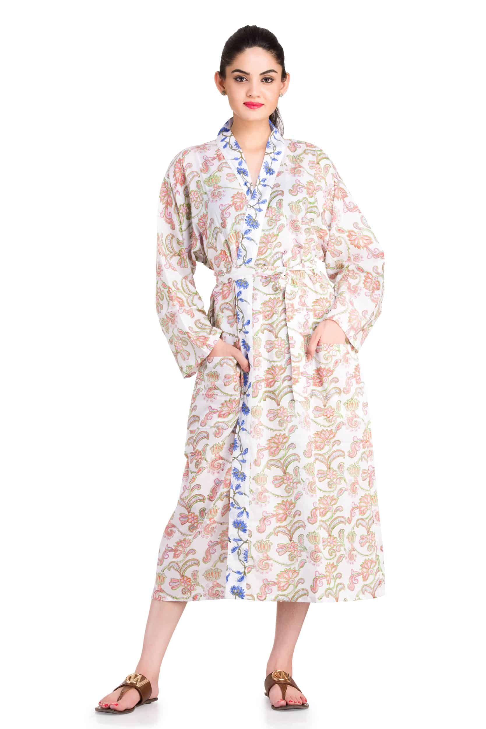 Raahi Womens Ladies Floral Dressing Robe Handicraft Palace