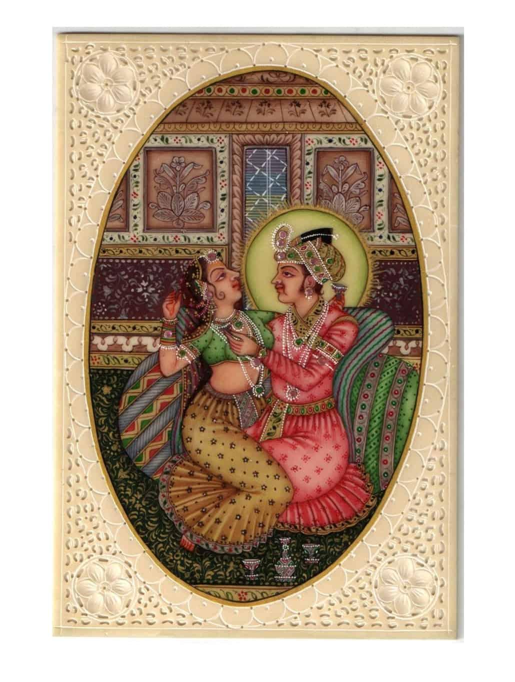 Indian Mughal Harem Erotic Miniature Painting Handicraft