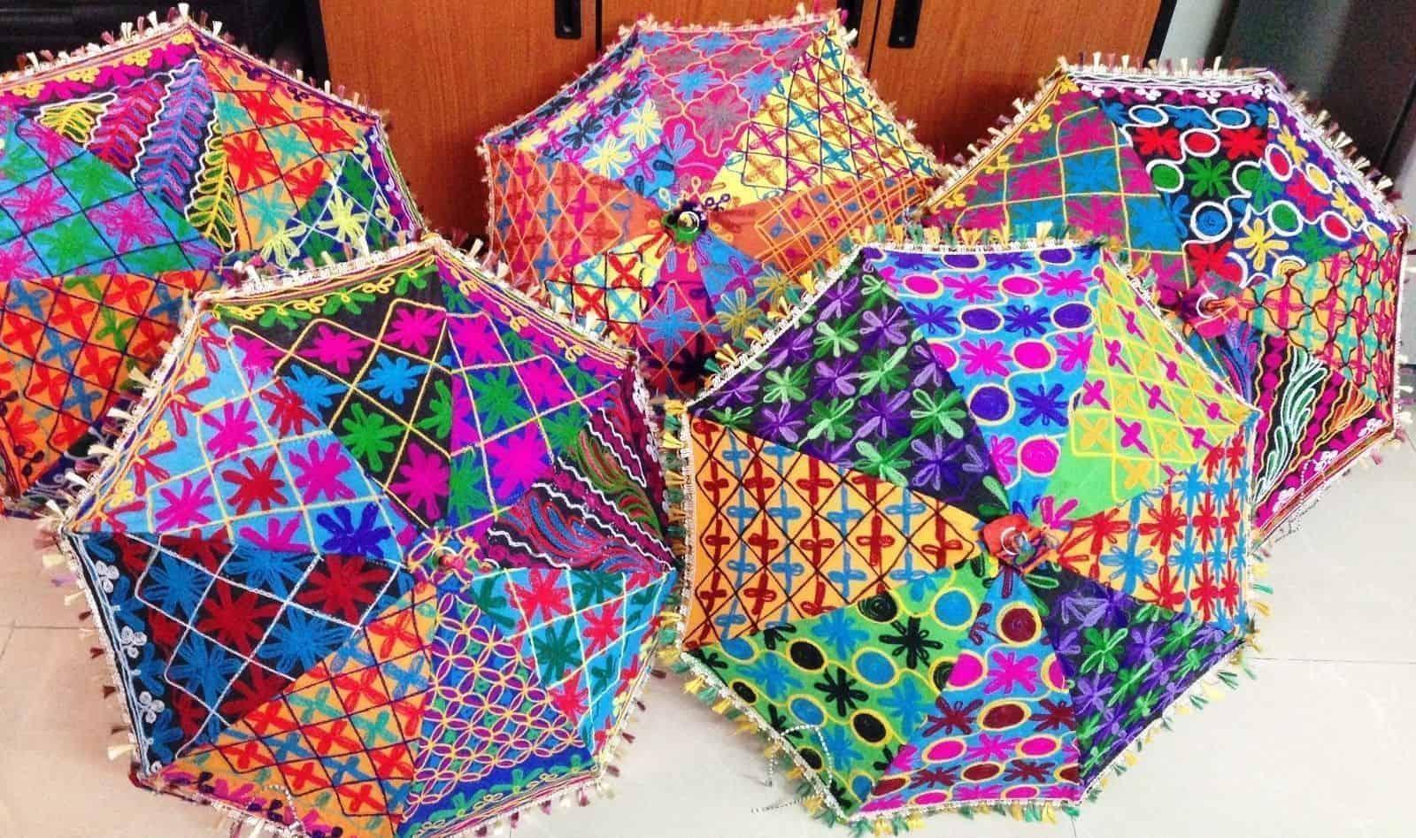 74fdd378b9b6b 5 PC Wholesale Lot Designer Indian Patchwork Embroidered Umbrella ...
