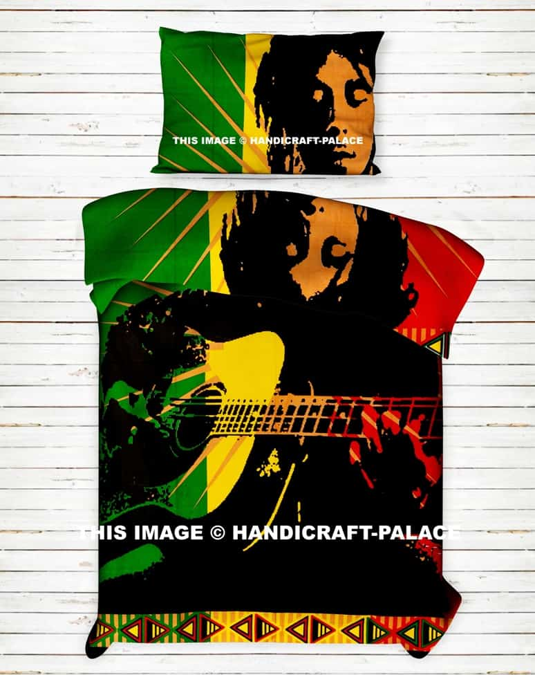 Bob Marley Bed Sheet With Pillow Case Bohemian