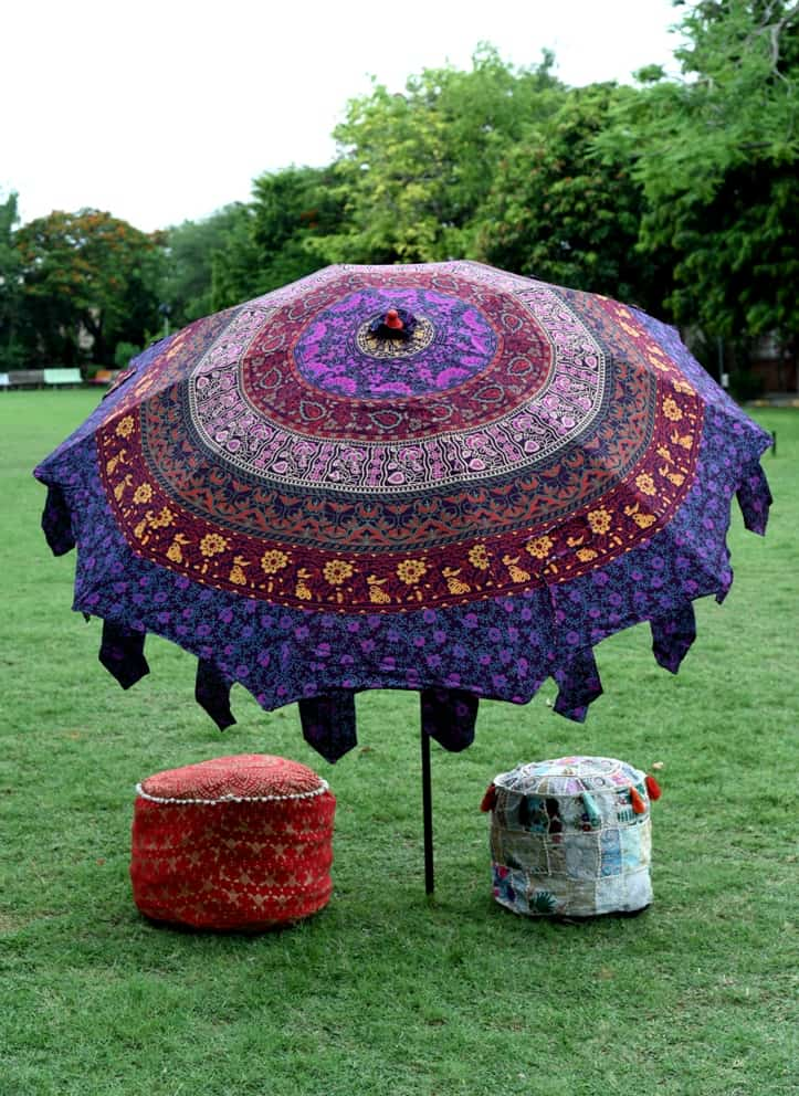 Indian Cotton Garden Umbrella Mandala Round Patio Sunshade
