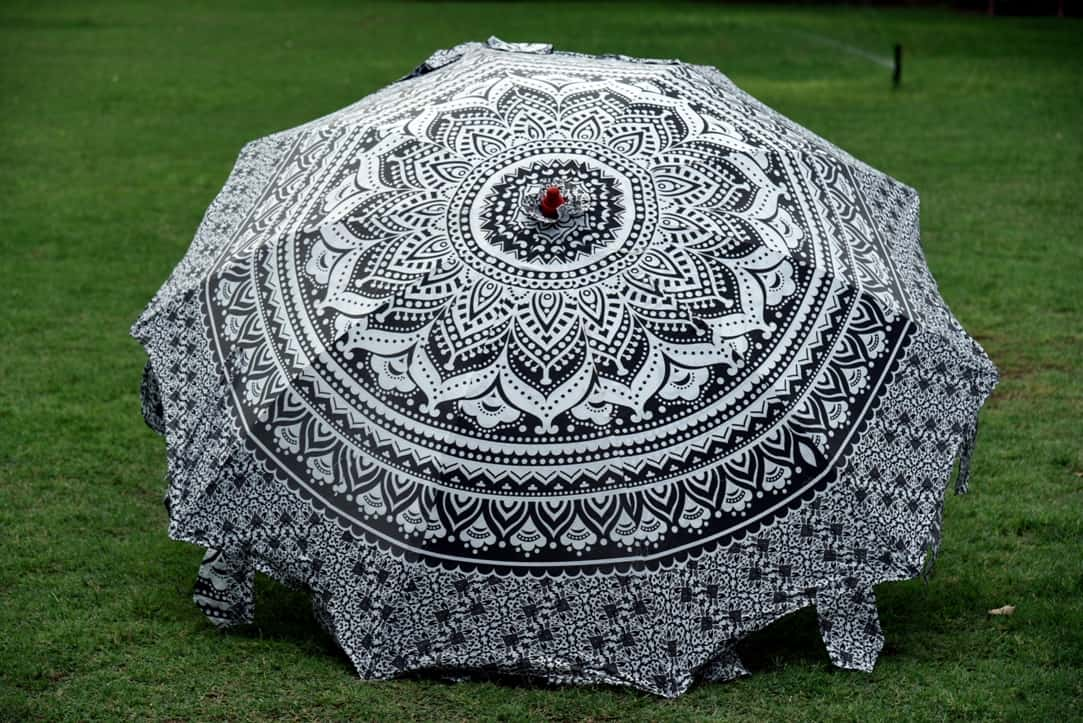 Indian Garden Umbrella Ombre Mandala Cotton Round Patio Sunshade Parasol Hippie