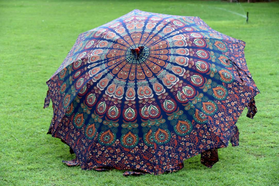 Peacock Mandala Sun Shade Garden Umbrella Handicraft Palace