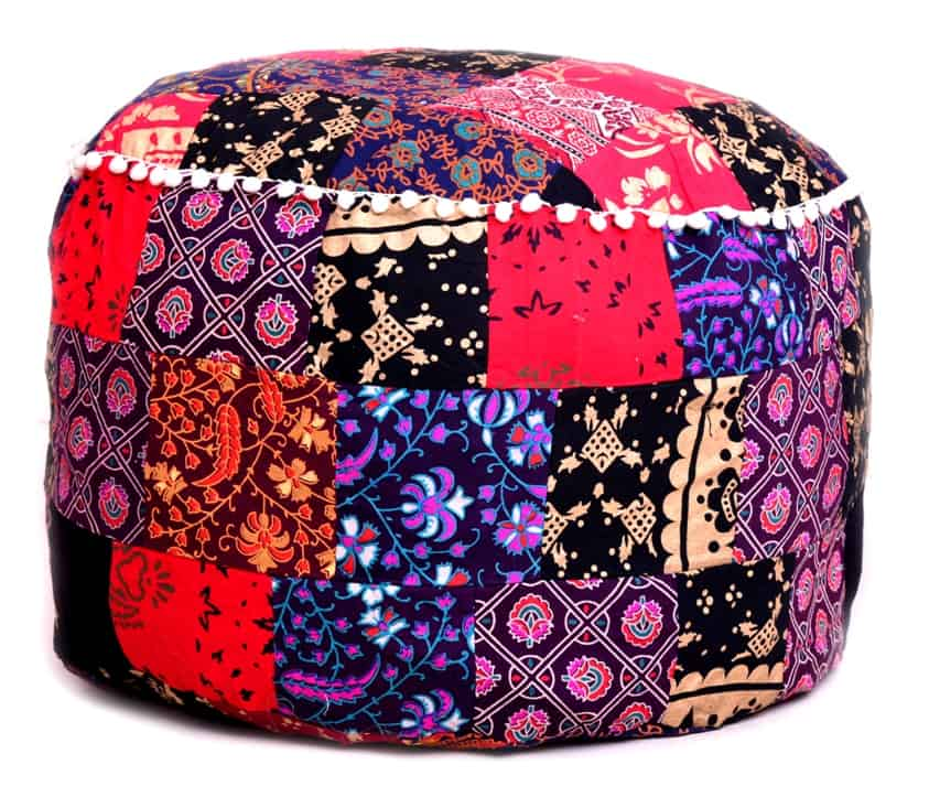 Patchwork Indian Cotton Pouf Ottoman Cover Handicraft Palace Magnificent Indian Pouf Covers