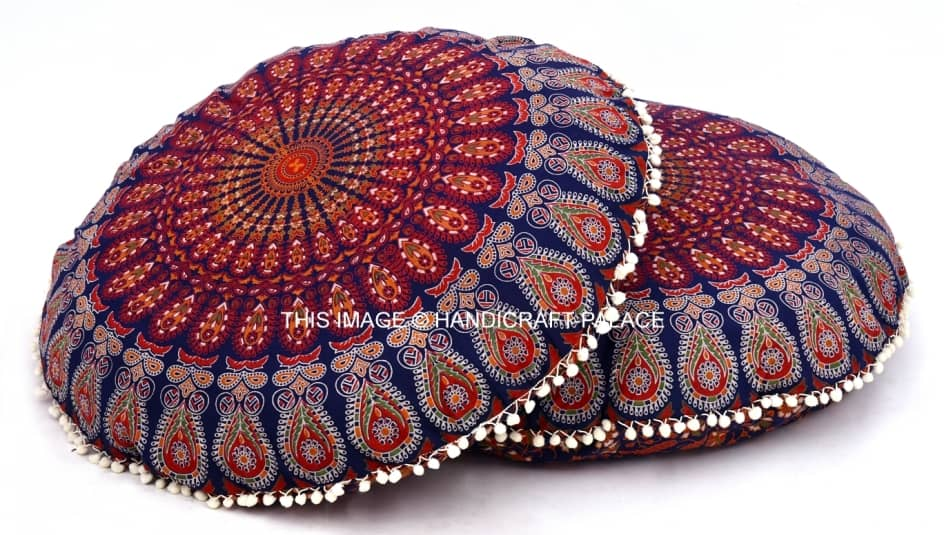 Large Ombre Mandala Ottoman Pouf Ethnic Round Pouf Footstool Floor Pouf Cover And To Have A Long Life. Furniture Home, Furniture & Diy