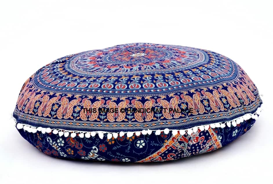"""Indian Mandala Floor Pillow Sham Round Tapestry Cushion Cover Ottoman Pouf 32/"""""""