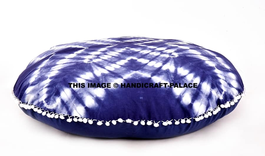 Indian Tie Dye Large Shibori Floor Pillows Cushion Cover Bohemian Round Handicraft Palace