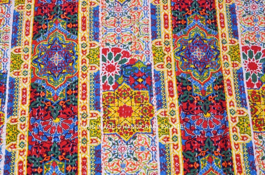 Floral Kantha Bedspread Blanket Handicraft Palace