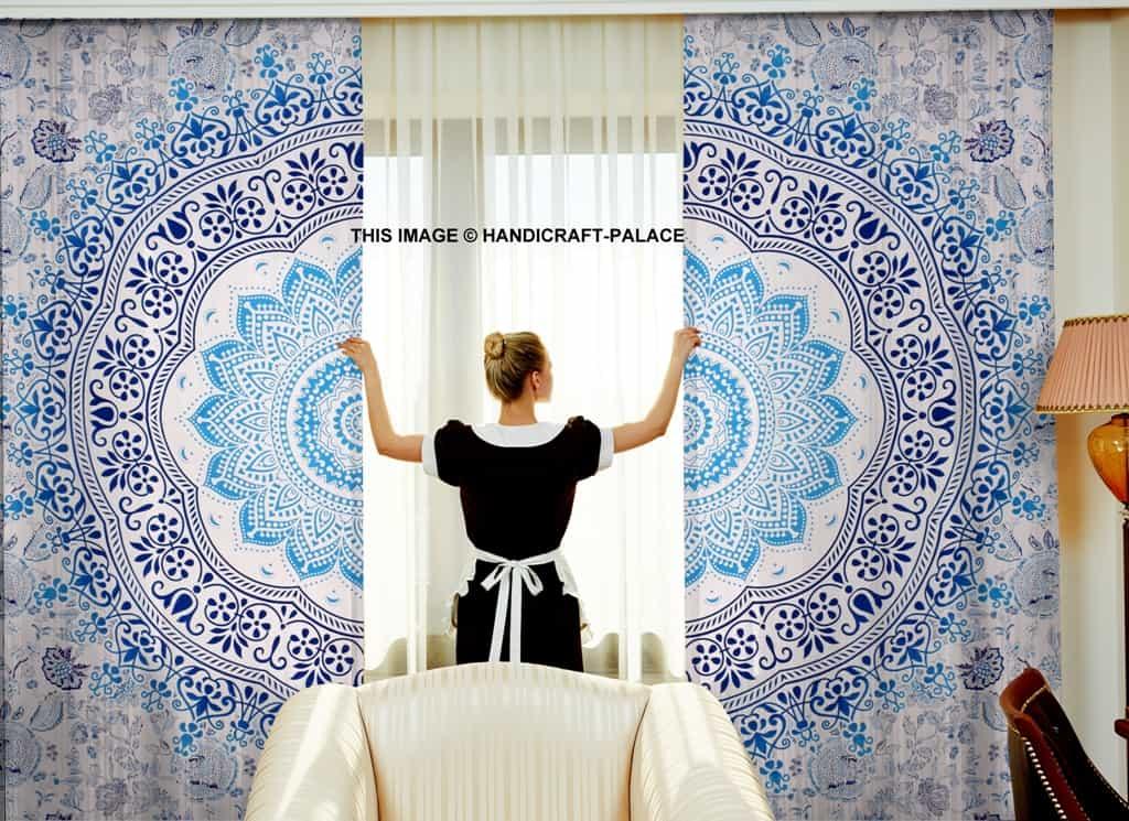 Blue Ombre Window Curtains: Ombre Mandala Cotton Curtains Set