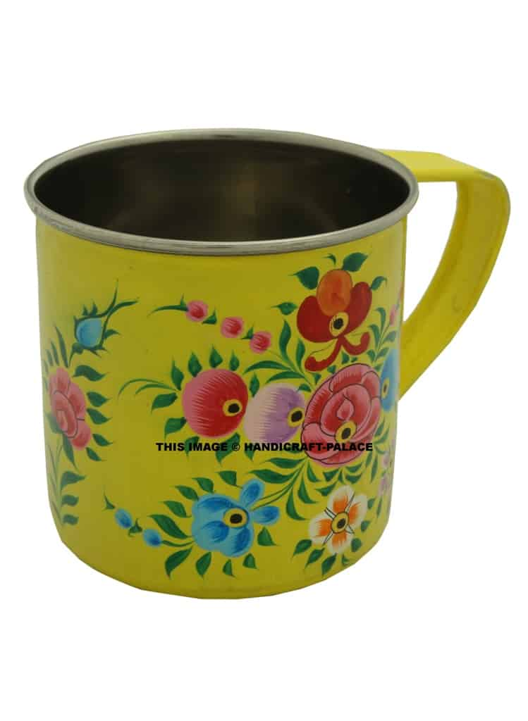 Beautiful Hand Painted Stainless Steel Hippie Coffee Mug