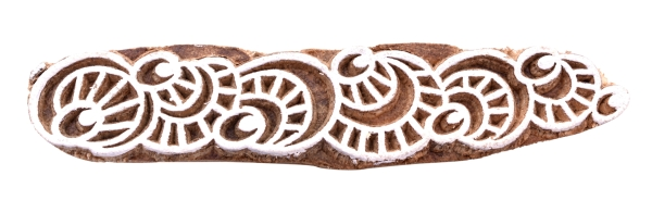 Indian Wooden Hand Carved Textile Printing Fabric Block Stamp Border Design