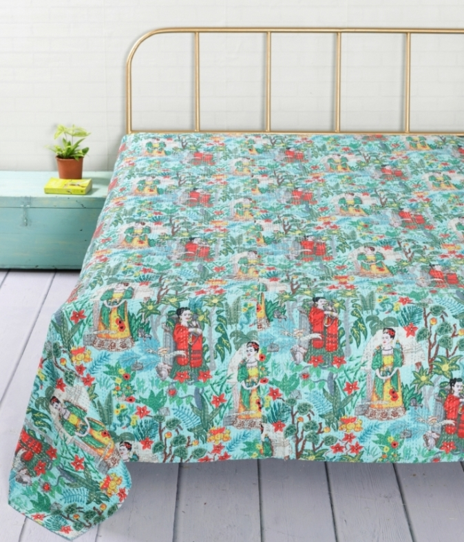 New Block Printed Handmade Cotton Kantha Bed Cover Quilt Throw Bedspread Blanket Reversible Bed Cover Kantha Gudri 02