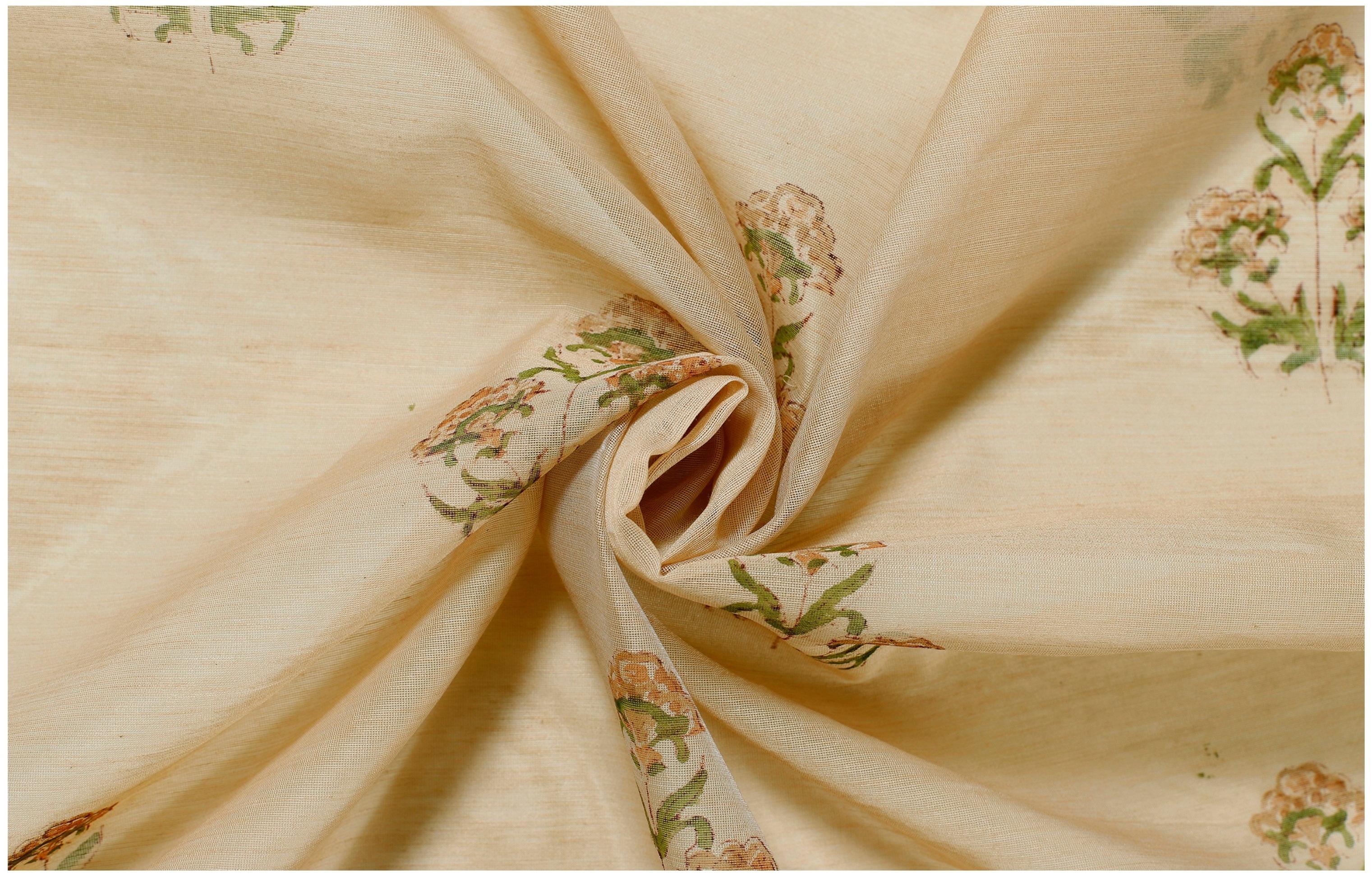 Fabric By Yard Indian Hand Block Flower Print Chanderi Silk Fabric Dressmaking Sewing Restaurantecarlini Com Br