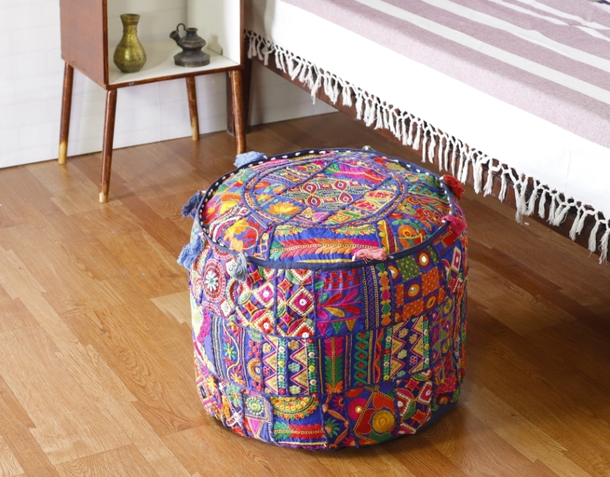 Amazing Embroidered Ottoman Pouf Cover Beatyapartments Chair Design Images Beatyapartmentscom