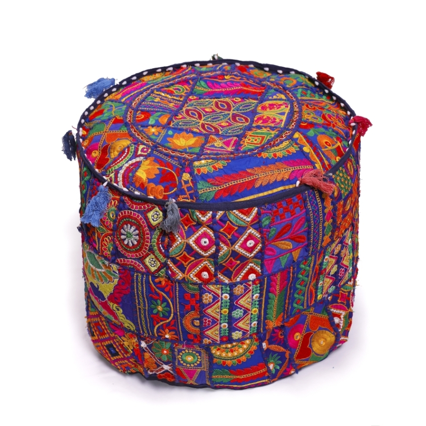 22 Floral Embroidered Patchwork Round Ottoman Pouf Cover Ethnic Footstool Cover Throw Vintage Bean Bag Grey Round Pouffe cover Decor Throw