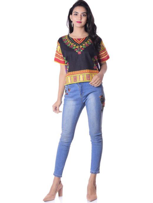 abdcfc5c1 Cotton Dashiki Shirt African Crop Top Hippie Vintage Tribal Women Tops
