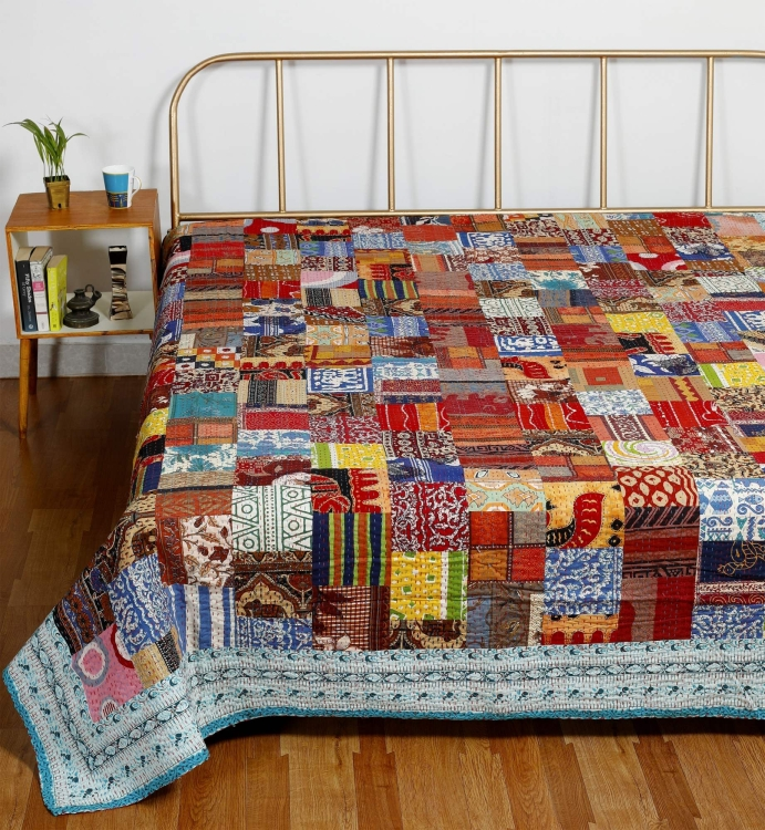 Indian Traditional Cotton Kantha Quilt Bedspread Throw Applique Queen Blanket
