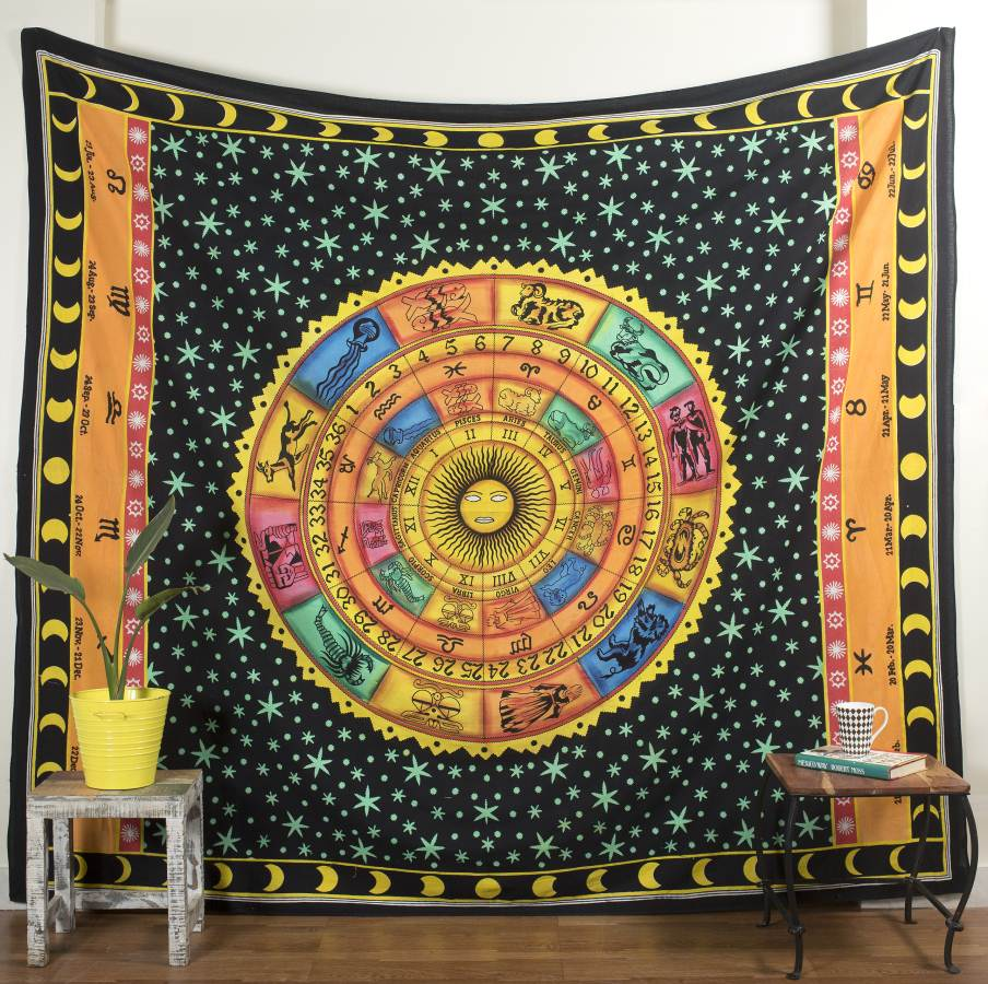 Wall Hanging Small Tapestry Blue Color Poster Cotton Fabric Table Cover Handmade